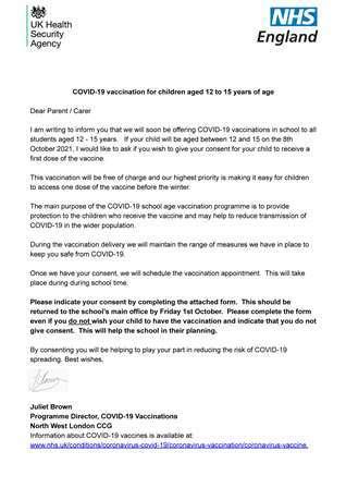 Covid 19 vaccine letter